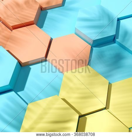 Hexagonal cells product demonstration template top view, 3D illustration, rendering.