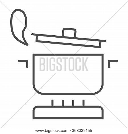 Pan With Steam On The Gas Stove Thin Line Icon, Cooking Concept, Saucepan On Fire Sign On White Back