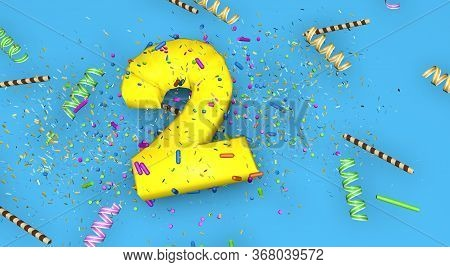 Number 2 For Birthday, Anniversary Or Promotion, In Thick Yellow Letters On A Blue Background Decora