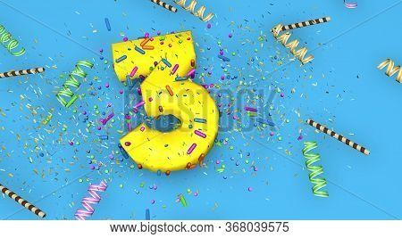 Number 3 For Birthday, Anniversary Or Promotion, In Thick Yellow Letters On A Blue Background Decora