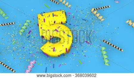 Number 5 For Birthday, Anniversary Or Promotion, In Thick Yellow Letters On A Blue Background Decora