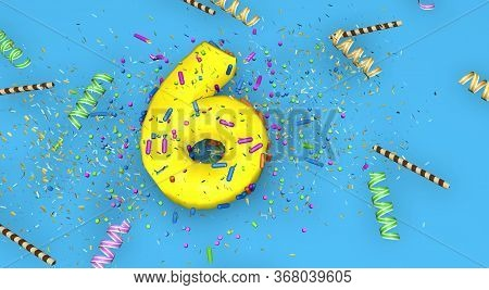 Number 6 For Birthday, Anniversary Or Promotion, In Thick Yellow Letters On A Blue Background Decora