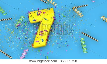 Number 7 For Birthday, Anniversary Or Promotion, In Thick Yellow Letters On A Blue Background Decora