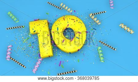 Number 10 For Birthday, Anniversary Or Promotion, In Thick Yellow Letters On A Blue Background Decor