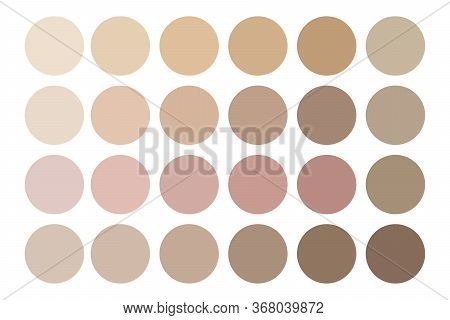 Vector Image Of Human Skin Tones. Color Palette Of Body Creams. Stock Photo.