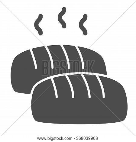 Hot Loaf Solid Icon, Bakery Concept, Bread With Steam Sign On White Background, Loaf Of Bread Icon I