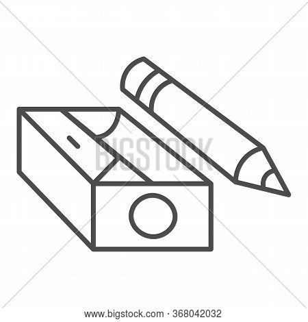 Pencil And Sharpener Thin Line Icon, Stationery Concept, Sharpened Wooden Pencil Sign On White Backg