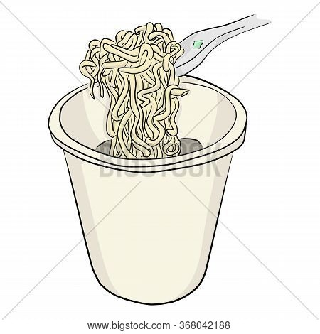 Instant Noodle In Bowl With Plastic Fork Vector Illustration Sketch Doodle Hand Drawn Isolated On Wh