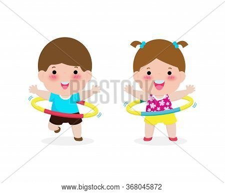 Cute Cartoon Kids Exercises With Hula Hoop. Children Playing Hoola Hoop, Weight Loss Concept, Health
