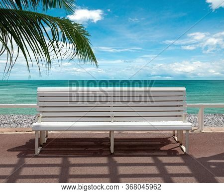 Empty Bench Overlooking The Sea. Promenade Des Anglais, Nice, France.