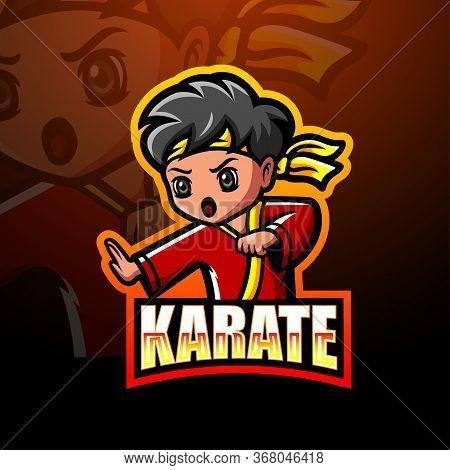 Vector Illustration Of Karate Martial Mascot Esport Logo Design