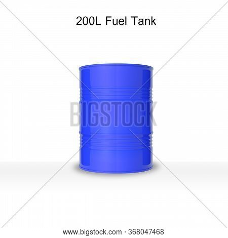 3d Render Of Isolated 200 Litter Oil Or Fuel Blue Tank On White Background With Clipping Path