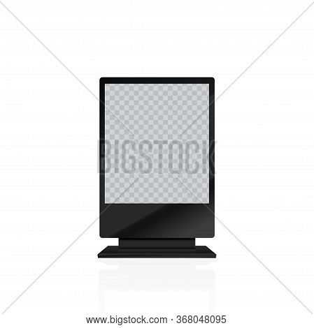 Blank Promo Stand With Lcd Screen. Mock Up. Vector.