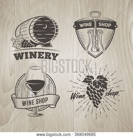 Wine Shop Logos. Vector Badges For Wine Shop Or Winery With Vintage Wooden Background. Set Of Black