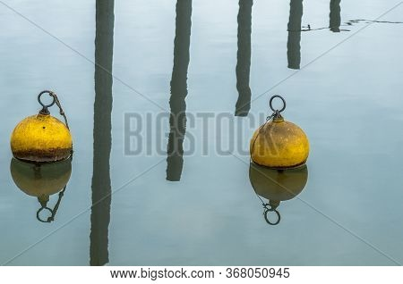 Yellow Mooring Buoys And Harbor Poles Reflecting On Calm Water Surface, Lake Constance, Germany.