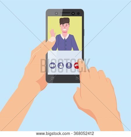Hand Holds Smartphone. Video Conference Team Friends On Screen Phone Talking By Internet In Videocal