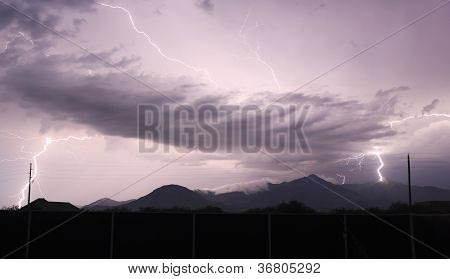 A Tumultuous Sky Over The Mountain Peaks