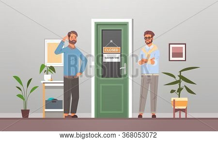 Unhappy Businessmen Standing In Front Of Office Door With Closed Sign Coronavirus Pandemic Quarantin