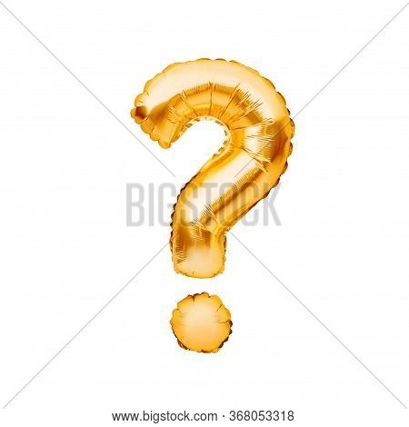 Question Mark, Question Symbol Made Of Golden Inflatable Balloon Isolated On White Background. Think
