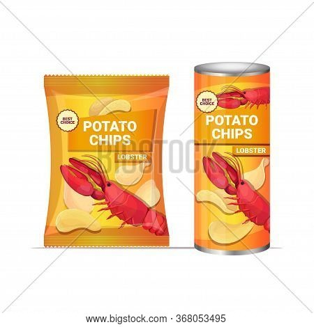 Potato Chips With Lobster Flavor Crisps Natural Potatoes And Packaging Advertising Design Template I
