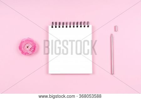 Note Pad With Ranunculus And Stylish Pen. Beauty Time, Selfcare And Beauty Log, Feminine Time Manage