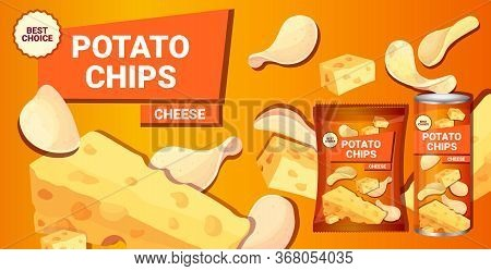Potato Chips With Cheese Flavor Advertising Composition Of Crisps Natural Potatoes And Packaging Ads