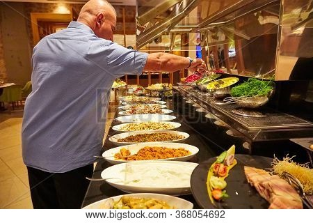 Antalia, Turkey - December 15, 2019: Food On The Shelves In The Self-service Buffet With All Inclusi