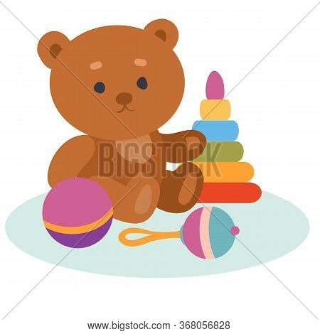 Set Of Toys From A Bear, A Pyramid, A Rattle And A Ball, Isolated Object On A White Background, Vect