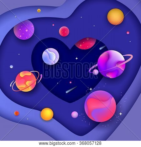 Space Heart Banner - 3d Shape With Fluid Cut Out Paper Shapes Forming Layers Of Galaxy