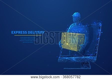 Delivery Man With Box In His Hands On Computer Screen. Abstract Low Poly Courier And Monitor In Dark