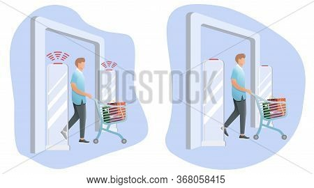 Set Vector Illustration, Man Goes Through Anti-theft Sensor Gates. Security System Detect Barcode An