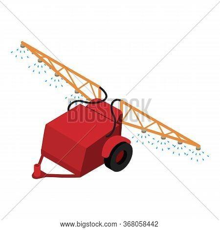 Farm Spray Trailer Icon. Isometric Of Farm Spray Trailer Vector Icon For Web Design Isolated On Whit