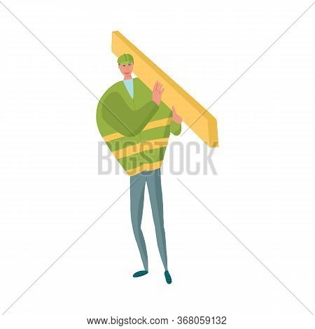 Construction Worker With Timber On The Shoulder