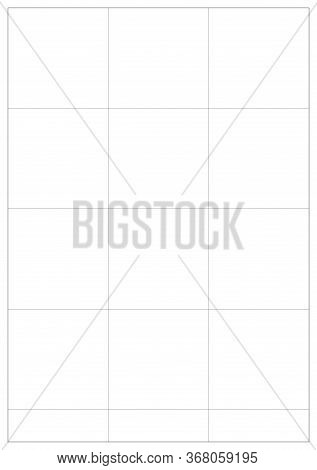 A5 Vector Paper Math Grid. Blank A5 With White Bounding Box. International Paper Size Standard. Vert