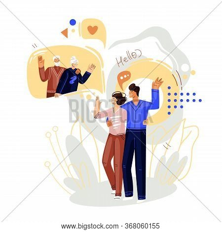 Man And Woman Walking And Talking On Online Video Conference With Family, Grand Seniors. Vector Flat
