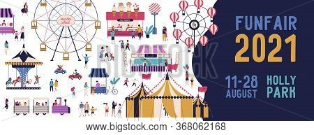 Funfair 2021 Banner Vector Illustration In Flat Style. Promo Of Amusement Park With Various Attracti