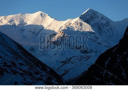 West Face Of Chulu East Mountain, View From Annapurna Circuit Trek, Telephoto Lens