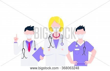 Successful Team Of Medical Employee Doctors With Face Masks Vector Illustration Isolated On White Ba