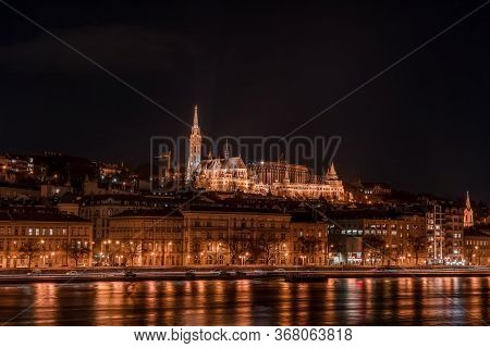 Long Exposure View Of Matyas Matthias Church On Fishermans Bastion Hill In Budapest In The Night