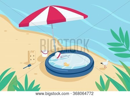 Inflatable Pool And Sun Umbrella On Sand Beach Flat Color Vector Illustration. Parasol, Sandcastle A