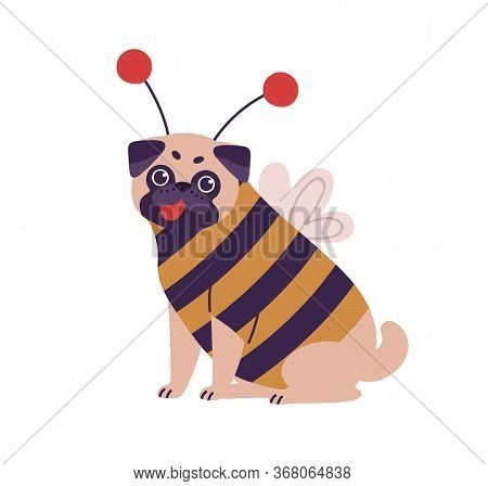 Cute Dog Pug Breed In Bee Costume Vector Flat Illustration. Funny Domestic Animal Character Wearing