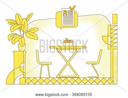 Recruiting Place Flat Silhouette Vector Illustration. Job Negotiation Room Contour Composition On Ye