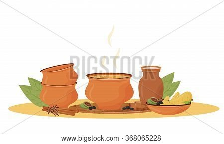 Hot Masala Tea In Bowl Cartoon Vector Illustration. Traditional Indian Drink, Aromatic Mixture Flat