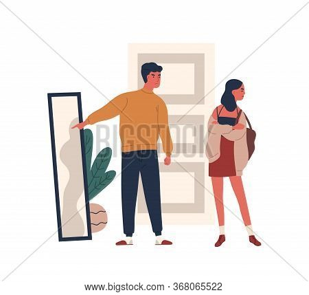 Annoyed Father Criticize Apparel Of Teenage Daughter Vector Flat Illustration. Dad Show At Mirror To