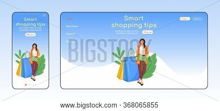 Smart Shopping Tips Adaptive Landing Page Flat Color Vector Template. Customer Help Mobile And Pc Ho