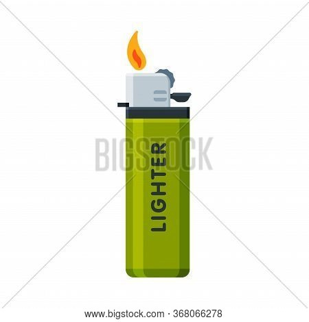 Green Plastic Cigarette Lighter With Fire, Flammable Smoking Equipment Vector Illustration