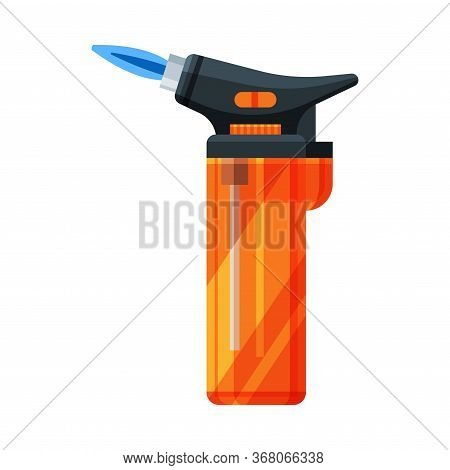 Orange Plastic Cigarette Lighter, Flammable Smoking Equipment Vector Illustration