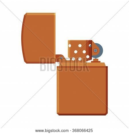 Steel Cigarette Lighter, Flammable Smoking Modern Equipment Vector Illustration