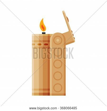 Golden Steel Cigarette Lighter With Fire, Flammable Smoking Equipment Vector Illustration