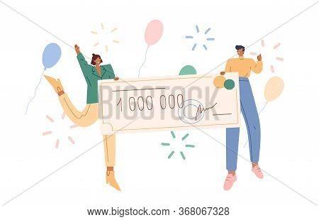 Joyful Man And Woman Holding Bank Check For Million Vector Flat Illustration. Happy Couple Winner Of